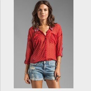 Free People Easy Rider Button Down Sheer Blouse